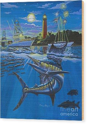 Jupiter Boat Parade Wood Print by Carey Chen