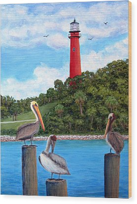 Jupiter Inlet Pelicans Wood Print by Fran Brooks