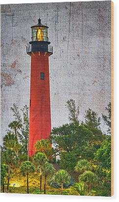 Jupiter Lighthouse Wood Print by Debra and Dave Vanderlaan