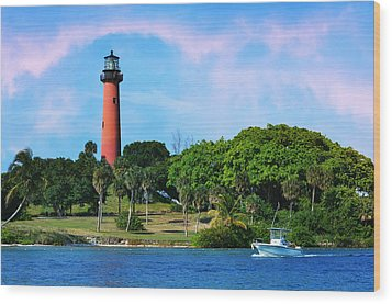Jupiter Lighthouse Wood Print by Laura Fasulo