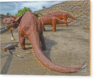 Jurupa Dinosaurs Wood Print by Gregory Dyer