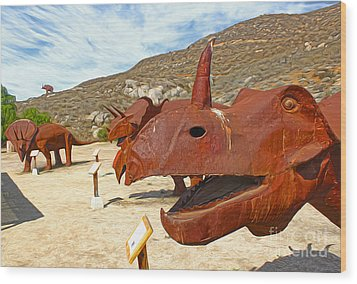 Jurupa Dinosaurs - Triceratops Group Wood Print by Gregory Dyer