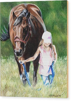 Just A Girl And Her Horse Wood Print