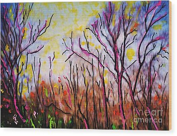 Just Across The River Wood Print by Sarah Loft
