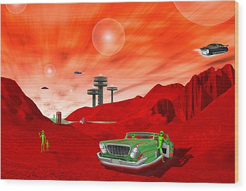Just Another Day On The Red Planet 2 Wood Print by Mike McGlothlen