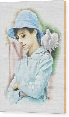 Just Audrey Wood Print by Mo T