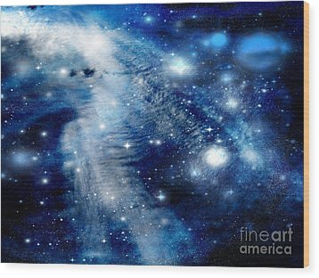 Wood Print featuring the digital art Just Beyond The Moon by Janice Westerberg