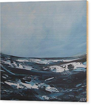 Just Blue Wood Print by Lilu Lilu