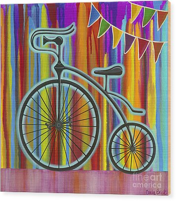 Wood Print featuring the painting Just Keep Going by Carla Bank