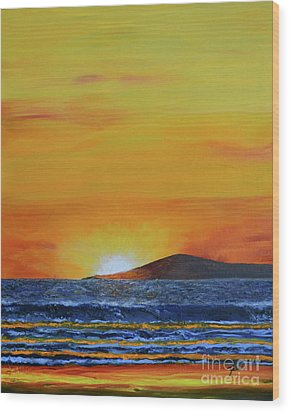 Wood Print featuring the painting Just Left Maui by Suzette Kallen