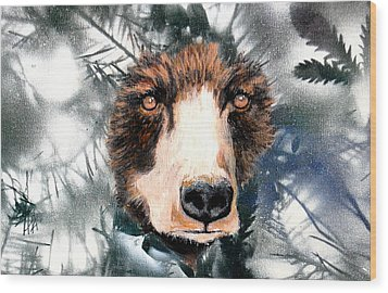 Just Lookin Wood Print by Holly Smith