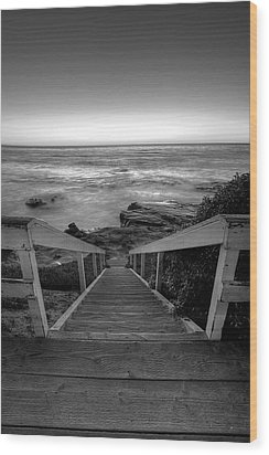 Just Steps To The Sea    Black And White Wood Print by Peter Tellone