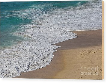 Just Waves And Sand By Kaye Menner Wood Print by Kaye Menner