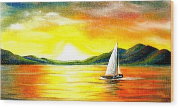 Justa Sailing Wood Print by Janet Moss