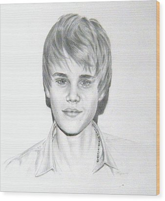 Wood Print featuring the drawing Justin Bieber by Lori Ippolito