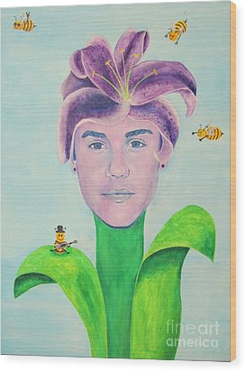 Justin Bieber Painting Wood Print by Jeepee Aero