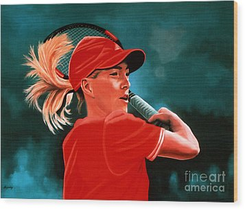 Justine Henin  Wood Print by Paul Meijering