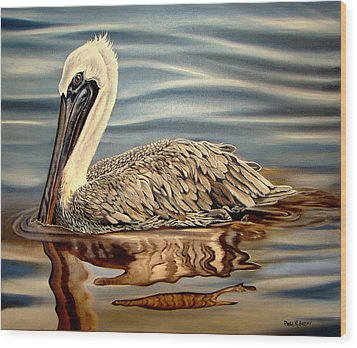 Wood Print featuring the painting Juvenile Pelican by Phyllis Beiser