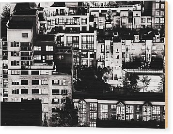 Wood Print featuring the photograph Black And White - Juxtaposed And Intimate Vancouver View At Night - Fineart Cards by Amyn Nasser