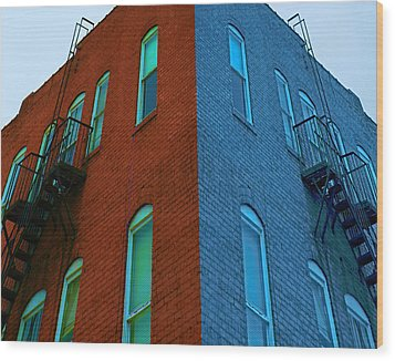 Wood Print featuring the photograph Juxtaposition - Old Building by Denise Beverly