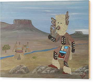 Kachina Owl Dancer Wood Print