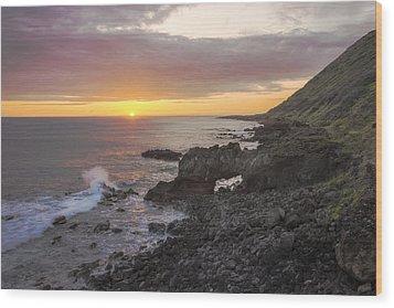 Kaena Point Sea Arch Sunset - Oahu Hawaii Wood Print by Brian Harig