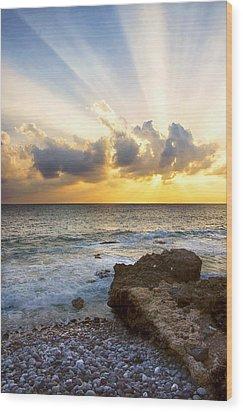 Kaena Point State Park Sunset 2 - Oahu Hawaii Wood Print by Brian Harig