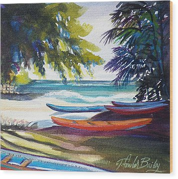 Kailua Beach Canoes Sold Wood Print by Therese Fowler-Bailey