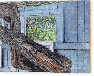 Wood Print featuring the painting Kailua Beach House by Mukta Gupta