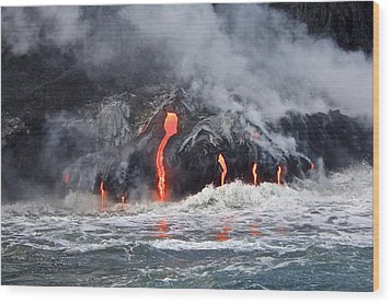Lava Falls At Kalapana Wood Print by Venetia Featherstone-Witty