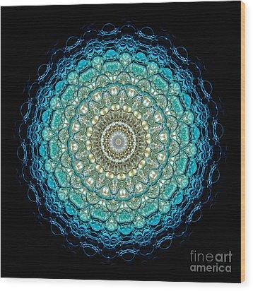 Kaleidoscope Aquamarine Bubbles Wood Print by Amy Cicconi
