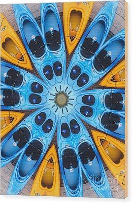 Kaleidoscope Canoes Wood Print by Amy Cicconi