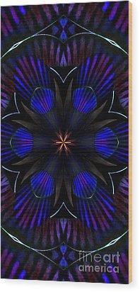 Kaleidoscope Feathers Three Wood Print
