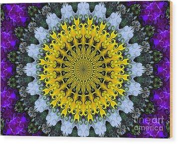 Kaleidoscope Flowers Wood Print
