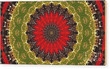 Kaleidoscope Leaves Wood Print