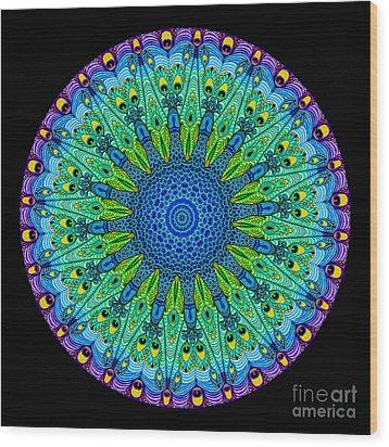 Kaleidoscope Peacock Wood Print by Amy Cicconi