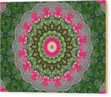Kaleidoscope Roses In Pink And Green Wood Print by MM Anderson