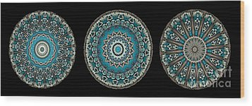 Kaleidoscope Steampunk Series Triptych Wood Print by Amy Cicconi