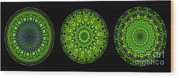 Kaleidoscope Triptych Of Glowing Circuit Boards Wood Print by Amy Cicconi