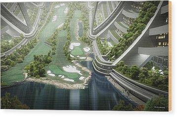 Wood Print featuring the digital art Kalpana One Golf Course by Bryan Versteeg
