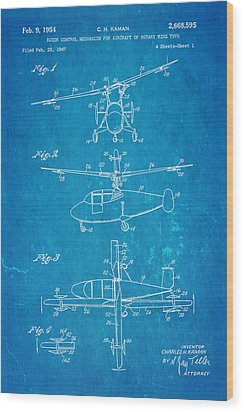 Kaman Rotor Control Patent Art 1954 Blueprint Wood Print by Ian Monk