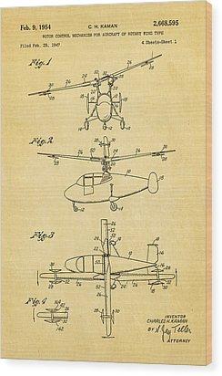 Kaman Rotor Control Patent Art 1954 Wood Print by Ian Monk