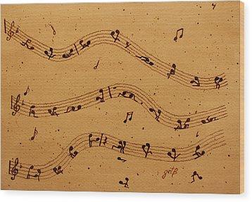 Kamasutra Music Coffee Painting Wood Print by Georgeta  Blanaru