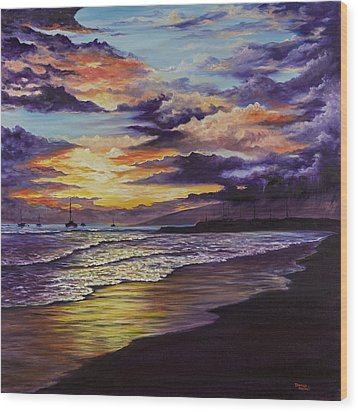 Wood Print featuring the painting Kamehameha Iki Park Sunset by Darice Machel McGuire