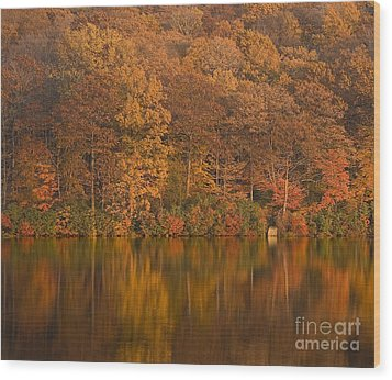 Kanawauke Lake Sundown Wood Print by Susan Candelario