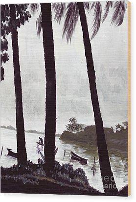 Kaneohe Bay From Bus Stop Wood Print by Mukta Gupta