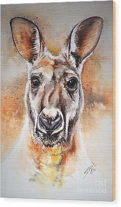 Kangaroo Big Red Wood Print