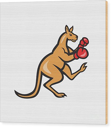 Kangaroo Kick Boxer Boxing Cartoon Wood Print by Aloysius Patrimonio