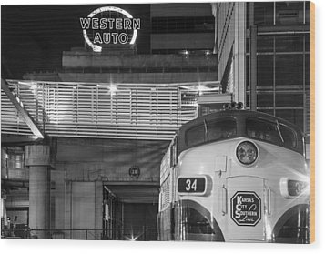 Kansas City Night Train Wood Print