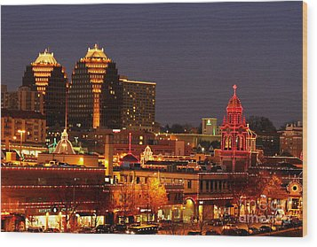 Kansas City Plaza Lights Wood Print by Catherine Sherman